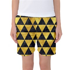 Triangle3 Black Marble & Gold Paint Women s Basketball Shorts