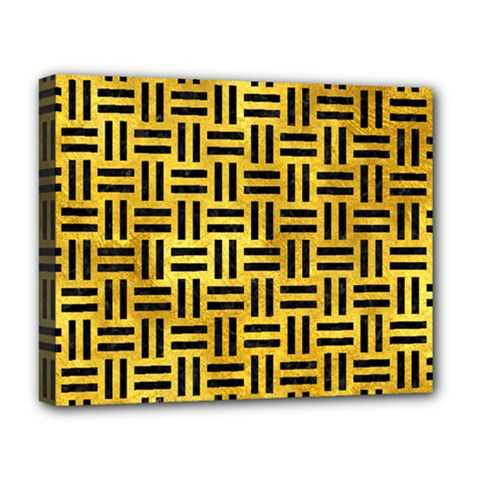 Woven1 Black Marble & Gold Paint Deluxe Canvas 20  X 16