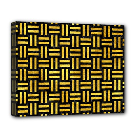 Woven1 Black Marble & Gold Paint (r) Deluxe Canvas 20  X 16