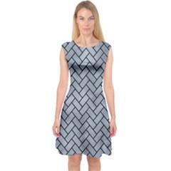 Brick2 Black Marble & Silver Paint Capsleeve Midi Dress