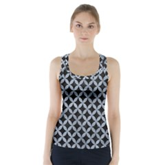 Circles3 Black Marble & Silver Paint (r) Racer Back Sports Top