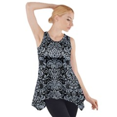 Damask2 Black Marble & Silver Paint (r) Side Drop Tank Tunic
