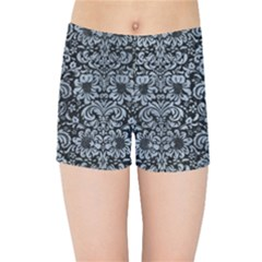 Damask2 Black Marble & Silver Paint (r) Kids Sports Shorts