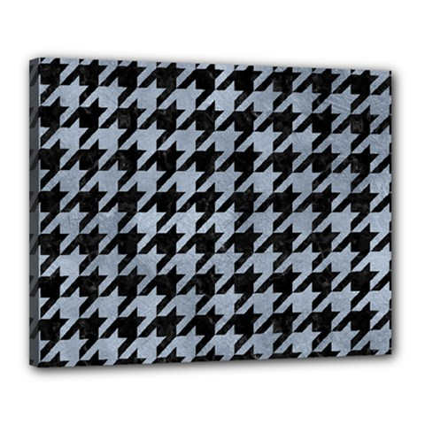 Houndstooth1 Black Marble & Silver Paint Canvas 20  X 16