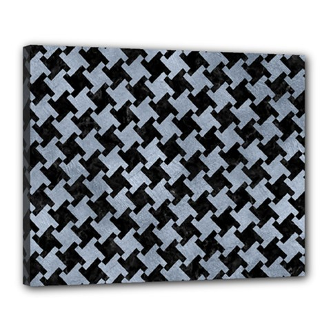 Houndstooth2 Black Marble & Silver Paint Canvas 20  X 16