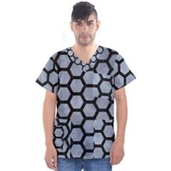 Hexagon2 Black Marble & Silver Paint Men s V Neck Scrub Top