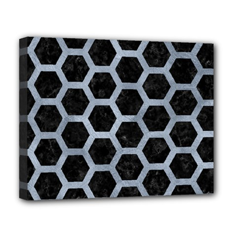 Hexagon2 Black Marble & Silver Paint (r) Deluxe Canvas 20  X 16