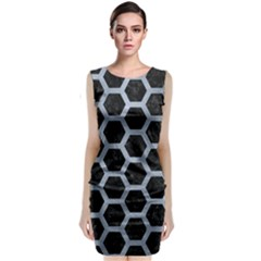 Hexagon2 Black Marble & Silver Paint (r) Classic Sleeveless Midi Dress