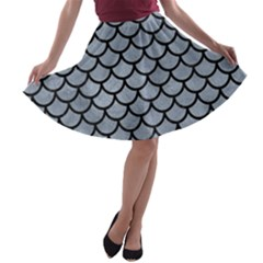 Scales1 Black Marble & Silver Paint A Line Skater Skirt