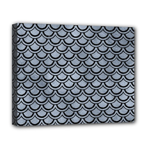 Scales2 Black Marble & Silver Paint Deluxe Canvas 20  X 16