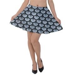 Scales3 Black Marble & Silver Paint Velvet Skater Skirt