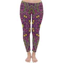 Butterflies  Roses In Gold Spreading Calm And Love Classic Winter Leggings