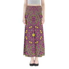 Butterflies  Roses In Gold Spreading Calm And Love Full Length Maxi Skirt