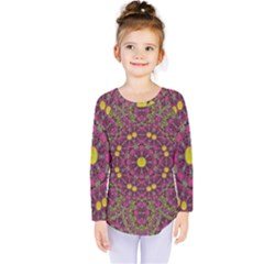 Butterflies  Roses In Gold Spreading Calm And Love Kids  Long Sleeve Tee