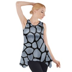 Skin1 Black Marble & Silver Paint (r) Side Drop Tank Tunic