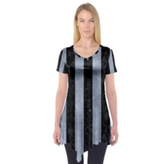 Stripes1 Black Marble & Silver Paint Short Sleeve Tunic