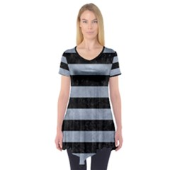 Stripes2 Black Marble & Silver Paint Short Sleeve Tunic