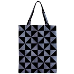 Triangle1 Black Marble & Silver Paint Zipper Classic Tote Bag