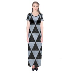 Triangle3 Black Marble & Silver Paint Short Sleeve Maxi Dress