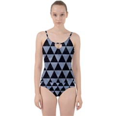 Triangle3 Black Marble & Silver Paint Cut Out Top Tankini Set