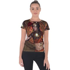 Steampunk, Wonderful Steampunk Lady Short Sleeve Sports Top