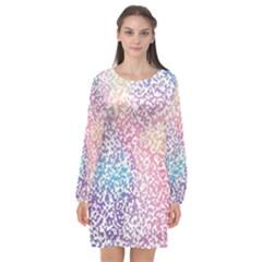 Festive Color Long Sleeve Chiffon Shift Dress