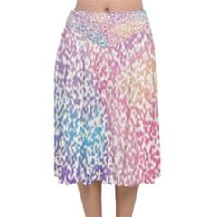 Festive Color Velvet Flared Midi Skirt