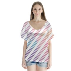 Colored Candy Striped V Neck Flutter Sleeve Top