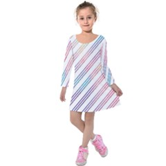 Colored Candy Striped Kids  Long Sleeve Velvet Dress
