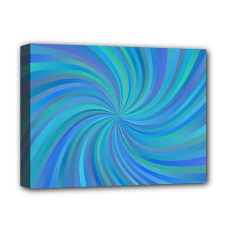 Blue Background Spiral Swirl Deluxe Canvas 16  X 12