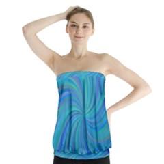 Blue Background Spiral Swirl Strapless Top