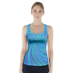 Blue Background Spiral Swirl Racer Back Sports Top