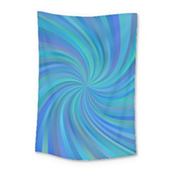 Blue Background Spiral Swirl Small Tapestry