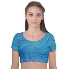 Blue Background Spiral Swirl Velvet Short Sleeve Crop Top