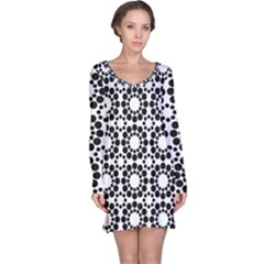 Black White Pattern Seamless Monochrome Long Sleeve Nightdress