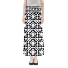 Black White Pattern Seamless Monochrome Full Length Maxi Skirt