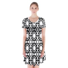 Black White Pattern Seamless Monochrome Short Sleeve V Neck Flare Dress