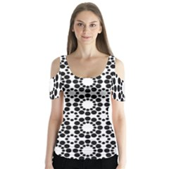 Black White Pattern Seamless Monochrome Butterfly Sleeve Cutout Tee