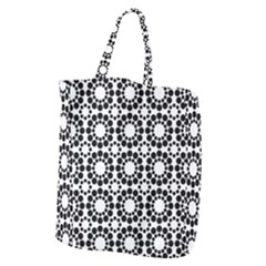 Black White Pattern Seamless Monochrome Giant Grocery Zipper Tote