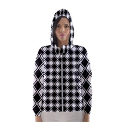 Black White Square Diagonal Pattern Seamless Hooded Wind Breaker (women)