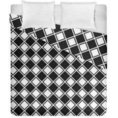 Black White Square Diagonal Pattern Seamless Duvet Cover Double Side (california King Size)