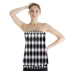 Black White Square Diagonal Pattern Seamless Strapless Top