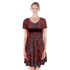 Abstract Fantasy Color Colorful Short Sleeve V Neck Flare Dress