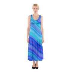 Blue Background Water Design Wave Sleeveless Maxi Dress