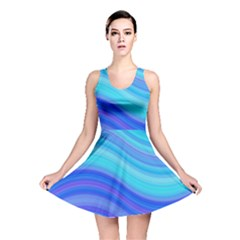 Blue Background Water Design Wave Reversible Skater Dress