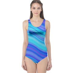 Blue Background Water Design Wave One Piece Swimsuit