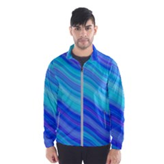 Blue Background Water Design Wave Wind Breaker (men)