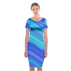 Blue Background Water Design Wave Classic Short Sleeve Midi Dress