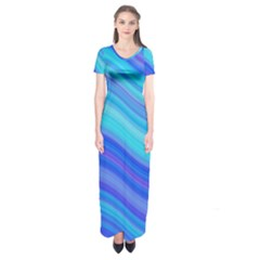 Blue Background Water Design Wave Short Sleeve Maxi Dress