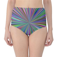 Burst Colors Ray Speed Vortex High Waist Bikini Bottoms